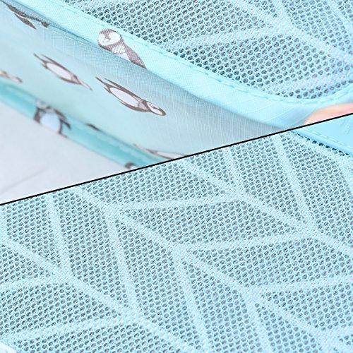 6Pcs Nylon Reise-Aufbewahrungsbeutel Gepäck-Organisator-Speicher-Handgriff-Beutel-Beutel-Satz [Grau] Blau