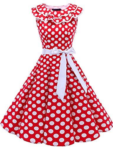 Bridesmay Robe de Soirée Cocktai Cérémonie Femme Chic Vintage Rétro Style Années 50's 60's Encolure Volantée sans Manches avec Ceinture détachable Red White Dot L