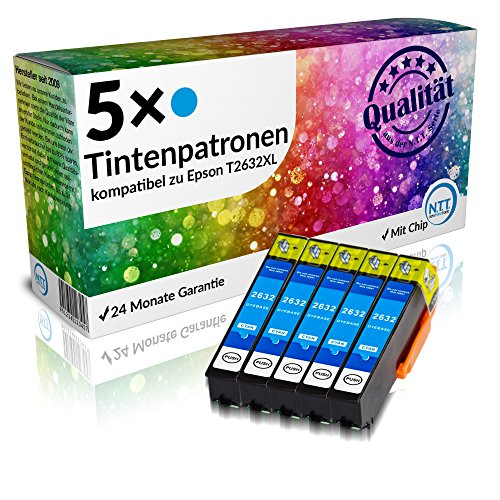 N.T.T.® 5x Stück XL Tintenpatronen kompatibel zu T2632 C Cyan / Blau Für Epson Expression Premium, XP-510 ; XP-600 ; XP-605 ; XP-610 XP-615 ; XP-700 ; XP-710 ; XP-800 ; XP-810