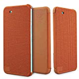 Heartly Dot View Touch Sensative Flip Thin Hard Shell Premium Bumper Back Case Cover For HTC One X9 – Mobile Orange