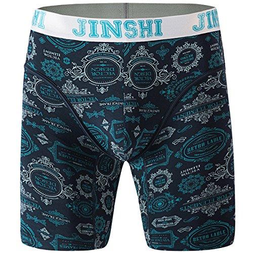 JINSHI Herren Unterwäsche Underwear Komfortabel Boxer Performance Trunks Geschnitten Unifarben Größe L (Long-boxer-unterwäsche)