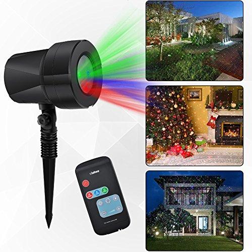 RGB Projektionslampe Dynamisch Sterne, Weihnachten Projektor Lichter Light, Bleuchtung Rot/Grün/Blau Licht mit RF Fernbedienung, Effektlicht Dekoration für Party, Kinder Zimmer Hauswand Außen/Innen