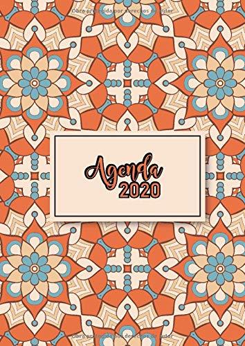 Agenda 2020: Tema Mandalas Agenda Mensual y Semanal + Organizador Diario I Planificador Semana Vista A4 Portada naranja