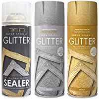 Rust-Oleum 400ml Silver and Gold Super Sparkly Glitter Spray Paint with Clear Protective Sealer Spray - 400ml