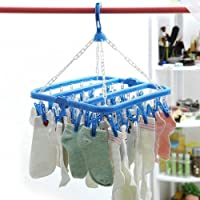 Lukzer Plastic Cloth Drying Stand 36 Clothes pin Hanger Wind-Proof Hook for 36 Clips Drying Socks, Towels, Bras, Baby…