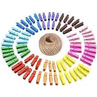 G2PLUS 100PCS Pinces à Linge Colorées en Bois,Clips Photo en Bois avec Bobine de Ficelle de Jute de 30M pour Vêtements…