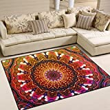 Naanle Hippie-Teppich, bunt, Blumenmuster, Mandala-Polyester, für Wohnzimmer, Esszimmer, Schlafzimmer, Heimdekoration. 5'*7' Multi