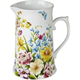 25.5cm LARGE - 25.5cm SMALL 15.5cm or LARGE CREAM//PINK//YELLOW Ideal for Home//Wedding Floral Display Shabby Chic Vintage Style TULIPS /& IRIS Design Metal Pitcher Jug