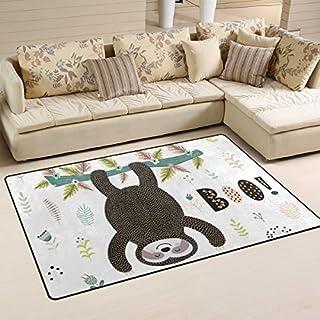 yibaihe, leicht, bedruckt mit Deko-Teppich, Teppich, modern Faultier zum Aufhängen am Weihnachtsbaum wasserabweisend stoßfest. Für Wohn- und Schlafzimmer, 153 x 100 cm