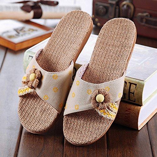 Aemember Piano Casa biancheria pantofole in ufficio, gli uomini e le donne in estate, fondo spesso antiscivolo Home Pantofole Yellow flower