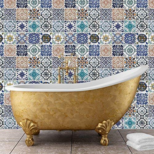 """Walplus 54x54 cm Wall Stickers """"Mosaic Tile Patterns"""" Removable Self-Adhesive Mural Art Decals Vinyl Home Decoration DIY Living Bedroom Office Décor Wallpaper Kids Room Gift, Multi-colour"""
