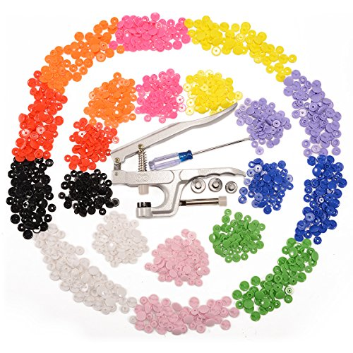 Anladia, 1 pinza e 300 set di bottoni automatici a pressione KAM T3/T5 in plastica di 10colori