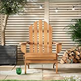 VonHaus Folding Adirondack Chair - Outdoor Garden Furniture made from Acacia Hardwood with Oiled Finish
