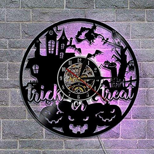 GuoEY RGB-Vinyl Clock Halloween Dekoration Vinyl Wall Art LED-Nachtlicht Wanduhr mit Farbwechsel Trick oder Movie Thema (Art Halloween Wall)