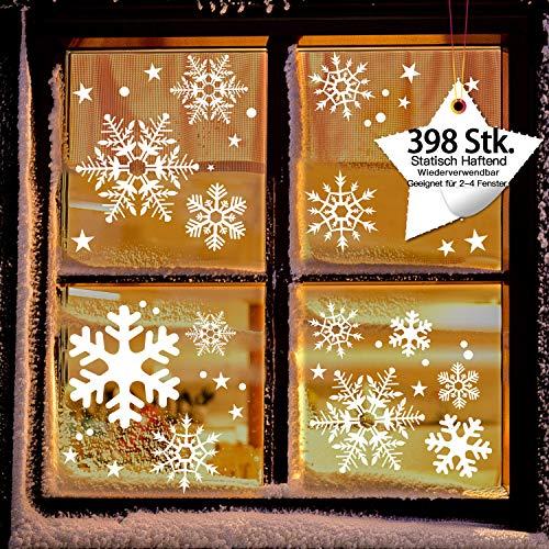 LessMo 398 STK. Schneeflocken, Fensterdeko, Fensterbilder für Weihnachts- und Winter- Dekoration, hochwertigem Statisch Haftende PVC-Material, Kein Kleber (8 Blätter)