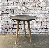 Loft-Design BEISTELLTISCH Fabrik Stil Rund Couch-Tisch Nachttisch Sofa-Tisch Beton-Optik ca. Ø 44,5 x H 44 cm Dreibein-Tisch ~ds2