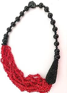 Collana con elementi in onice nero e 10 fili cupolini in corallo rosso naturale mediterraneo, pescato e lavorato in maniera sostenibile