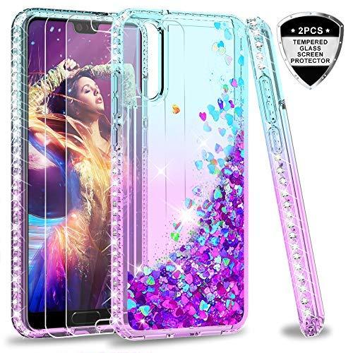 LeYi Funda Huawei P20 Silicona Purpurina Carcasa con [2-Unidades Cristal Vidrio Templado],Transparente Cristal Bumper Telefono Fundas Case Cover para Movil Huawei P20 ZX Púrpura/Azul