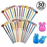 30 x crayons de bois dessin, 2 x taille-crayon kawaii, Rymall crayon a papier fantaisie de dureté de HB, crayons papier avec gomme animaux pour les enfants pour la fête d'anniversaire parti