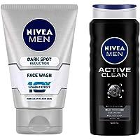 NIVEA Men Face Wash, Dark Spot Reduction, 100g And NIVEA Shower Gel, Active Clean Body Wash, Men, 500ml