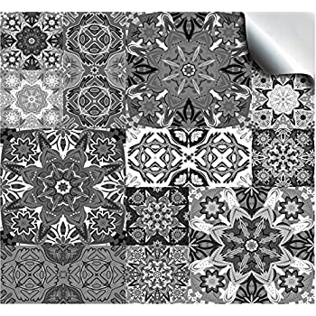 30 Moroccan Greys - Flat Printed Kitchen Bathroom Tile STICKERS For 150mm (TP15 - 6 inch) Square Tiles – Directly From: TILE STYLE DECALS, No Middleman (Pack of 30)