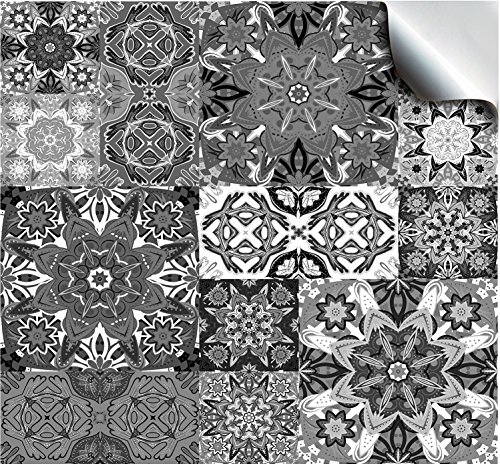 30- Moroccan Greys - Flat Printed Kitchen Bathroom Tile STICKERS For 100mm (TP15 - 4 inch) Square Tiles – Directly From: TILE STYLE DECALS, No Middleman (Pack of 30)