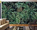 BZDHWWH HD Hochwertige 3D-Tapeten Handbemalt in Südostasien Stil Ananas Blätter Fototapete 3D Wand Papier Behang,250cm (H) x 375cm (W)