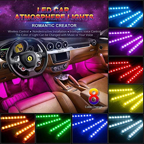Semaphore Universal Car LED Atmosphere Light Music Car Interior Lights, Waterproof Kit with Sound Active Function and Wireless Remote Control DC12V Power Adaptor for Cars and SUV (Multicolour)