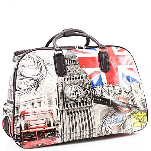 LeahWard® Große Größe Reisetasche Gepäck Reisetasche mit Rad Kabine Hand Taschengage Gym UrlaubWagen Koffer WN009 LONDON