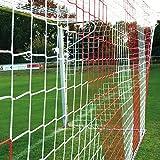 Jugend - Fußballtornetz 5,15 x 2,05 m Tiefe oben 1,00 / unten 1,00 m, zweifarbig, PP 4 mm ø, rot / weiß