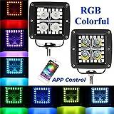 CHEDENGX 2 Teile/Satz 12 Watt 3 Zoll LED Arbeitslicht RGB Angel Eye Spot/Flut Fahren Arbeitslicht Bar APP Fernbedienung Für Jeep SUV Offroad Auto