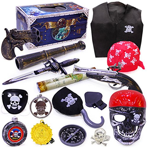 Kostüme Halloween Ideen Video Spiel (AAAHOMEEU Halloween Horror Teufel Spielzeug Set schreien verrückte Maske Gesicht Skelett Piraten)