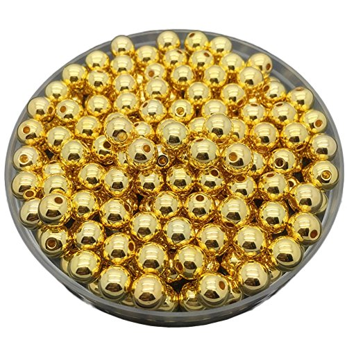 janedream DIY rund Spacer lose Gold versilbert Perlen für Halskette Armband Ohrringe Schmuck machen 50PCS 8mm (Gold) (Glas-edelsteine Multi-farbigen)