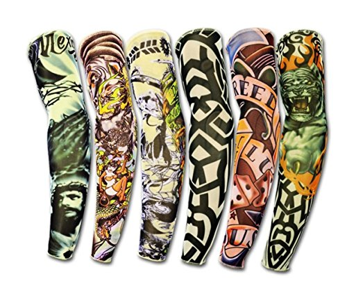 Hosaire 6 pcs/set Neuheit Designs Rock-Fake Tattoo Sleeves Arme / Beine Strümpfe Stretch Temporary-Kleid-Kostüm