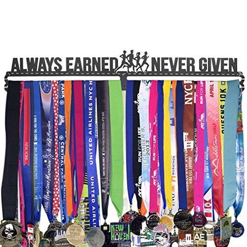 Gone For a RUN Runner's Race Medaillen-Aufhänger, extra lang für 96 Medaillen, Always Earned Never Given - Race-medaille Aufhänger