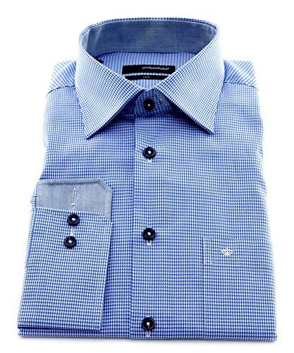 Seidensticker Herren Langarm Hemd UNO Regular Fit Kent Patch blau / weiß strukturiert 131696.15 Blau