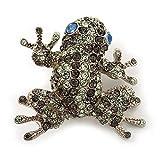 Avalaya Diamante 'Rana' Broche en Metal Chapado en rodio (luz Verde/Gris)