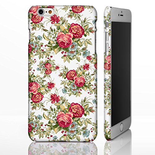 iCaseDesigner Handyhülle, Shabby Chic, Blumenmuster, für iPhone-Serie, maßgeschneiderte Designs, plastik, 10. Pink Roses on White Background, iPhone 5c 13. Red & Blue Flowers on White Background