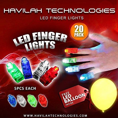 20Pcs super helle LED-Finger beleuchtet Finger-Taschenlampe leuchten Spielwaren Partei-Bevorzugungs-Versorgungsmaterialien (Mischfarbe) Gratis Geschenk im Inneren-Geführte Ballons (Finger Led)