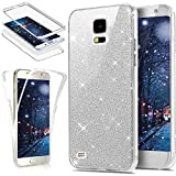 EINFFHO Coque Samsung Galaxy S5, Ultra Mince Cristal Clair Briller 360 Full-Body Avant+arrière Double Face Protecteur Bumper...