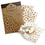 qarapara - Bienenwachstücher/Beeswax Wrap, handgemacht aus Bio-Baumwolle, 3er Set, Wiederverwendbare Frischhaltefolie