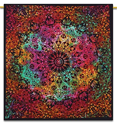 Handicrunch Indian Wall Hanging Tapestry Mandala Star Cotton Full Size Black ...
