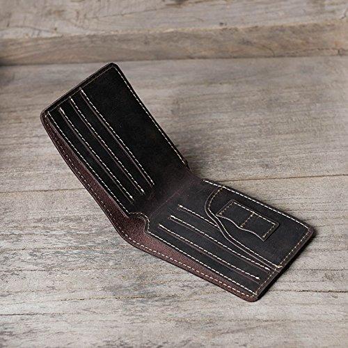 Retro Tasche, kurze Lederetui, Querschnitt, Männer und Frauen, null Brieftasche, Hellbraun Dark brown