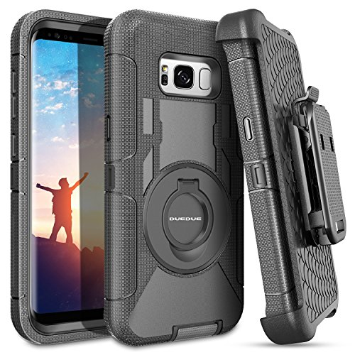 DUEDUE Samsung S8 Plus Hülle, Galaxy S8 Plus Schutzhülle Stoßfest Robuste mit Gürtelclip Ring Fingerhalterung Ständer Heavy Duty Bumper Outdoor Handyhülle für Samsung Galaxy S8 Plus G955F Schwarz