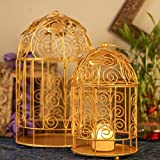 #9: Homesake Victorian Golden Bird Cage With Leafy Climber, With Hanging Chain