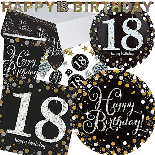 Dekoration Party Geburtstag 18th (XXL-Partyset * SPARKLING CELEBRATION * für den 18. Geburtstag // mit Teller + Becher + Servietten + Tischdecke + Konfetti + Banner + Folienballon // Set Party Motto)