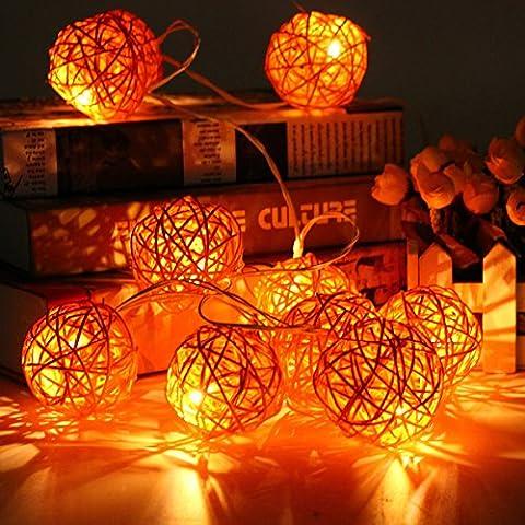 KING DO WAY 10er Lichterkette LED Mini Schoene Rattan Ball
