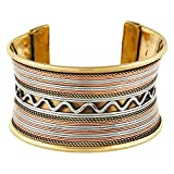 #2: Arittra Handcuff (Ethnic Antique Tribal Traditional Trendy Vintage Casual) Golden Copper Silver Multi color Brass Metallic Designer Free Size Adjustable Cuff And Kada Bracelet For Women Girls - Best Gift Valentine