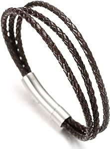 Halukakah Pr/émium ● Jazz ● Homme Bracelet en Cuir V/éritable de Main Classique 3 Emballage Fermoir Magn/étique en Titane Acier 8.46 avec Le Bo/îte-Cadeau Gratuit 21.5cm