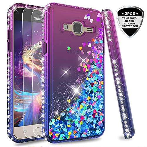 Galleria fotografica LeYi Custodia Galaxy J3 2016 Glitter Cover con Vetro Temperato [2 Pack],Brillantini Diamond Silicone Sabbie Mobili Bumper Case per Custodie Samsung J3 2016/J3/SM-J320 Donna ZX Purple Blue Gradient